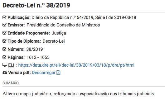 mapa judiciario 2019